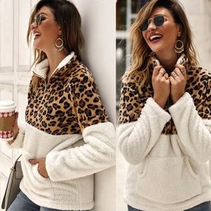 Sweaters - RANDALL leopard Print Furry Zipper Sweater